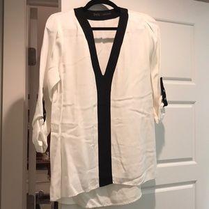 Zara white/black blouse